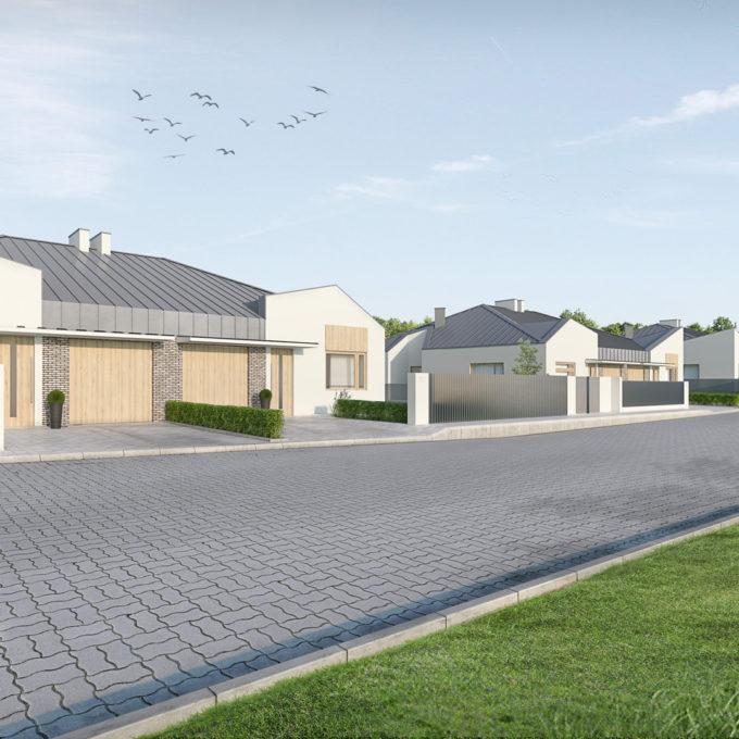 Wizualizacja 3D Poznań ulicy domów jednorodzinnych