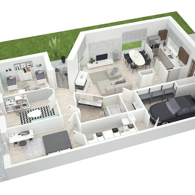 Wizualizacje 3D Poznań projekty graficzne poznań rzut mieszkania