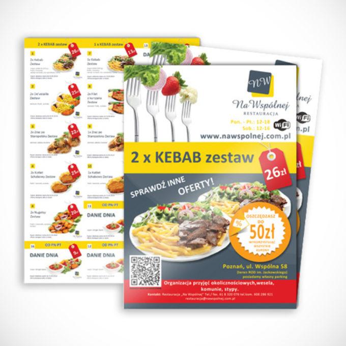 ulotki reklamowe poznań cennik kebab mała gastronomia
