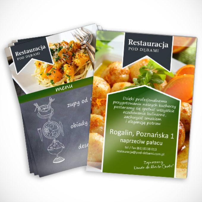 ulotki reklamowe poznań menu restauracja pod dębami kuchnia staropolska