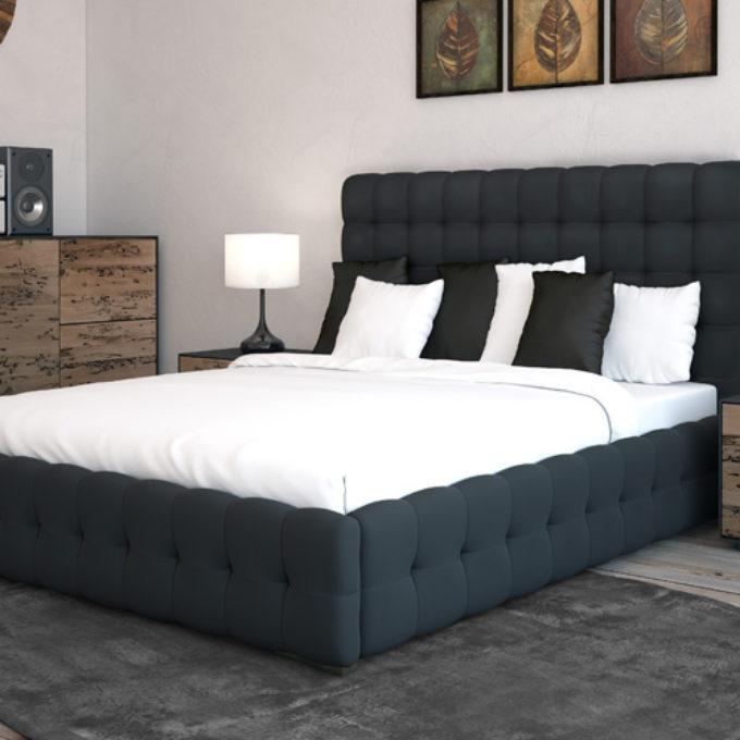 Wizualizacje 3D Poznań projekty graficzne poznań sypialnia łóżko czarne