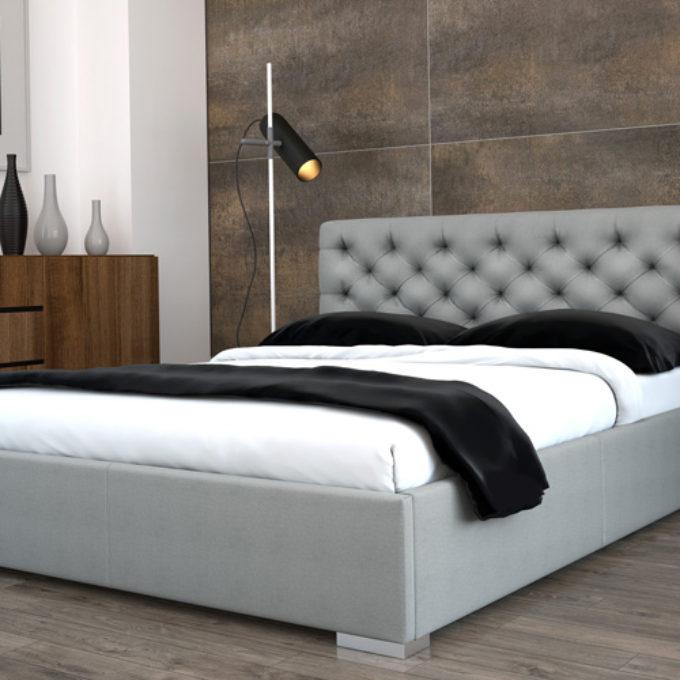 Wizualizacje 3D Poznań projekty graficzne poznań sypialnia łóżko popielate