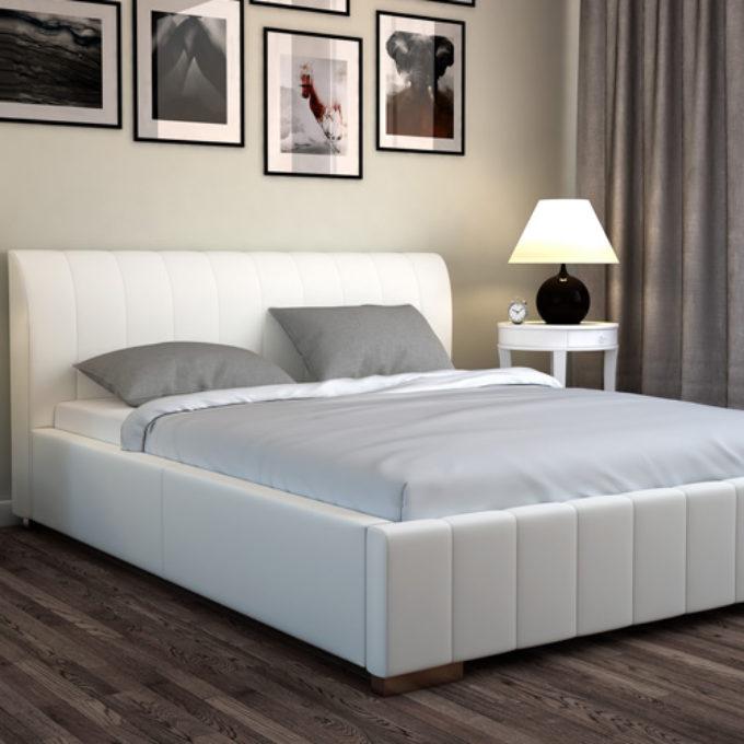 Wizualizacje 3D Poznań projekty graficzne poznań sypialnia łóżko beżowe