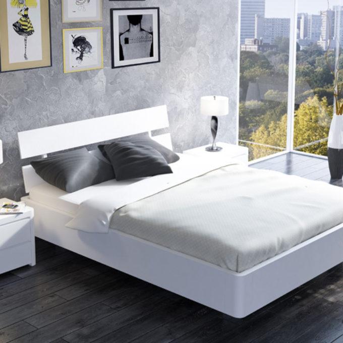 Wizualizacje 3D Poznań projekty graficzne poznań sypialnia łóżko nowoczesne białe