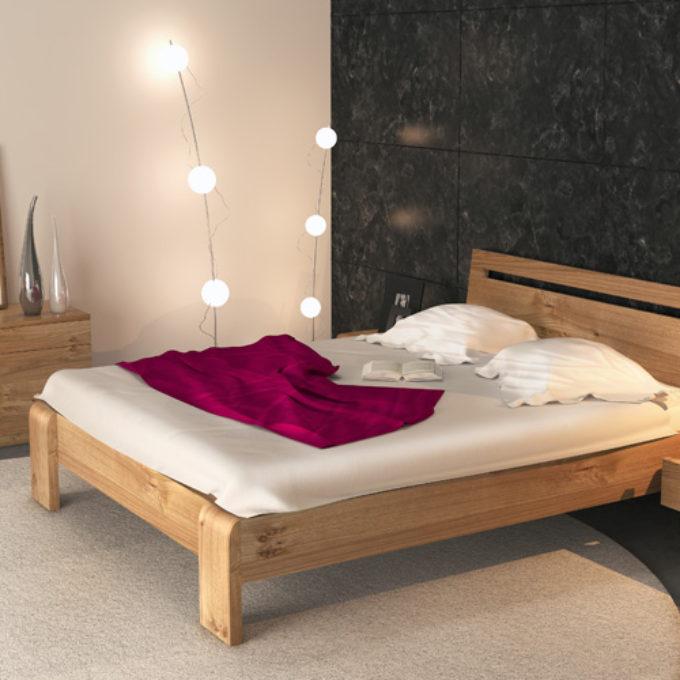 Wizualizacje 3D Poznań projekty graficzne poznań sypialnia łóżko sosna jasny brąz