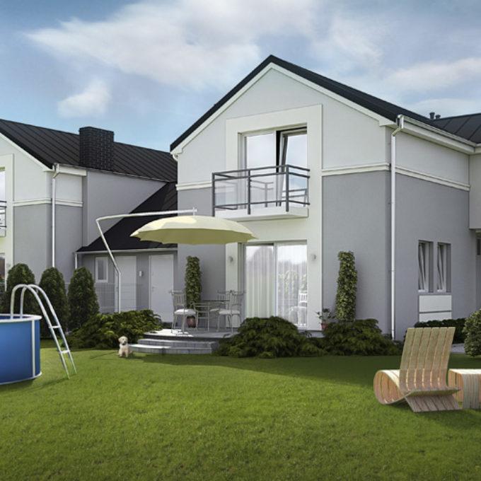Wizualizacje 3D Poznań projekty graficzne poznań dom jednorodzinny ogród basen