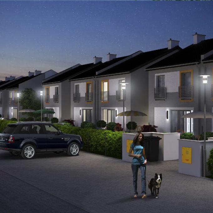 Wizualizacje 3D Poznań projekty graficzne poznań dom jednorodzinny ulica nocą