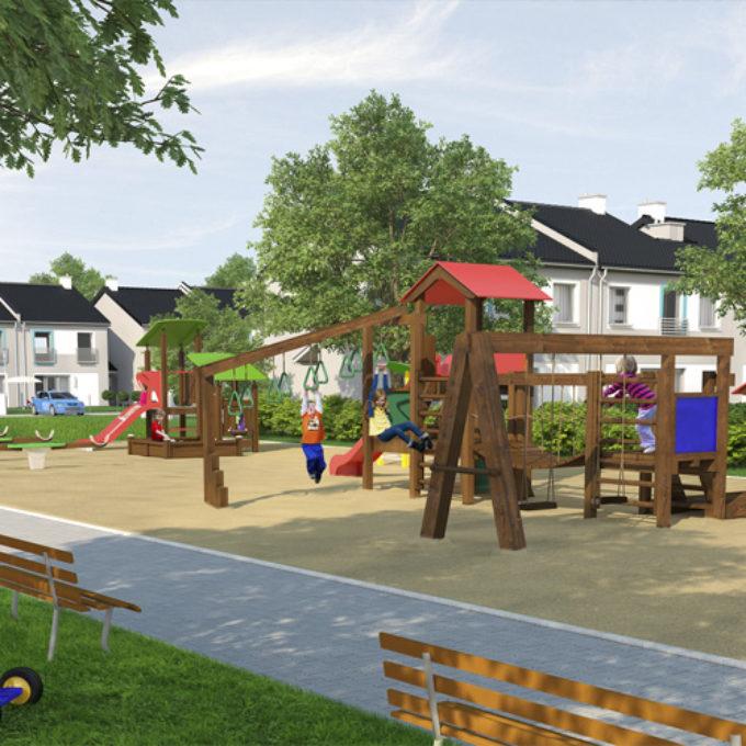 Wizualizacje 3D Poznań projekty graficzne poznań plac zabaw osiedle domów jednorodzinnych