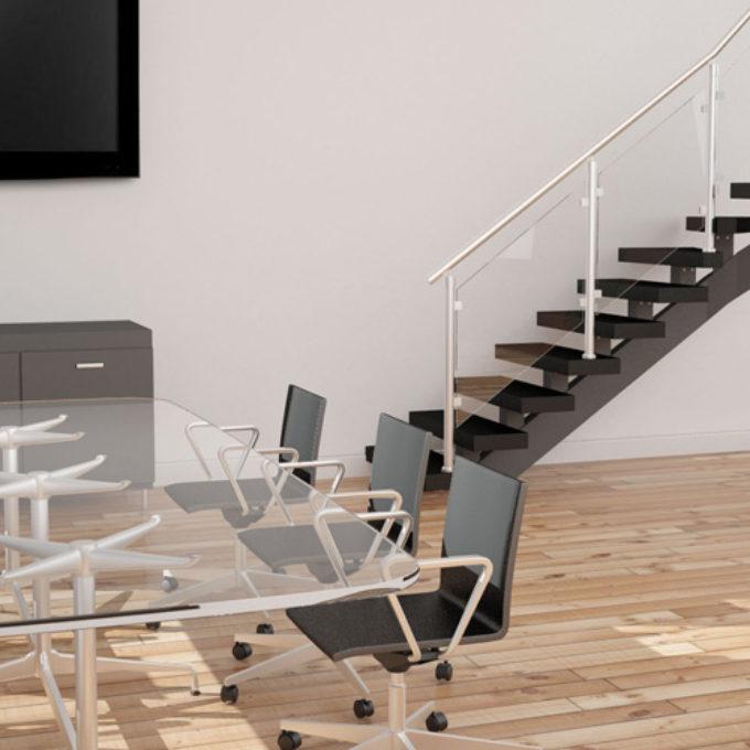 Wizualizacje 3D Poznań projekty graficzne poznań schody przeszklone drewniane brąz