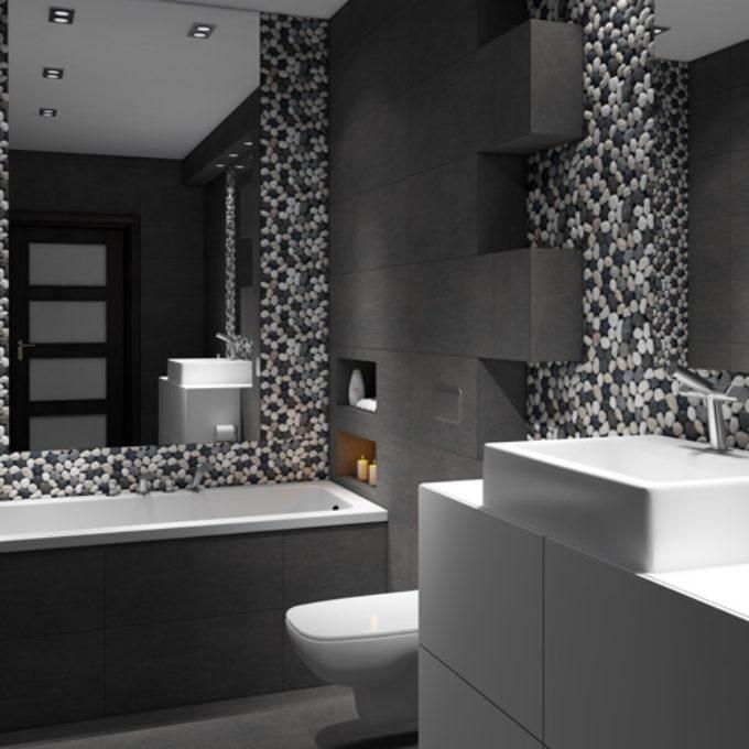 Wizualizacje 3D Poznań projekty graficzne poznań ciemna łazienka