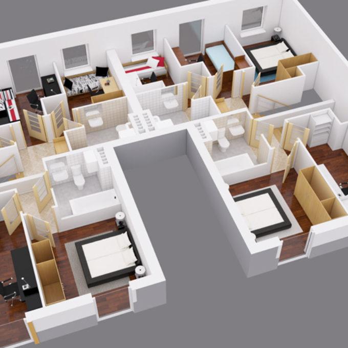 Wizualizacje 3D Poznań projekty graficzne poznań dom jednorodzinny rzut mieszkania