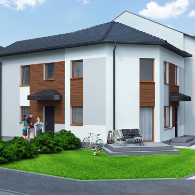 Wizualizacje 3D Poznań projekty graficzne poznań dom jednorodzinny piętrowy trawnik