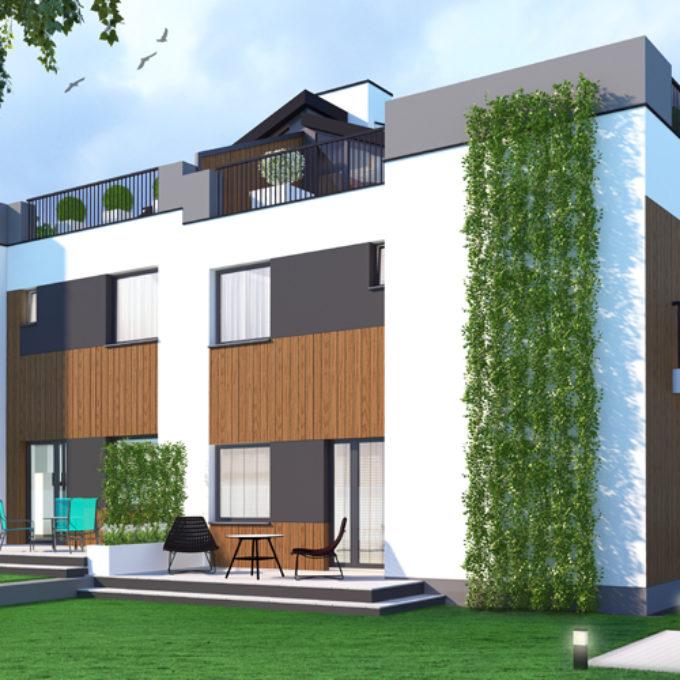 Wizualizacje 3D Poznań projekty graficzne poznań dom jednorodzinny piętrowy z tarasem