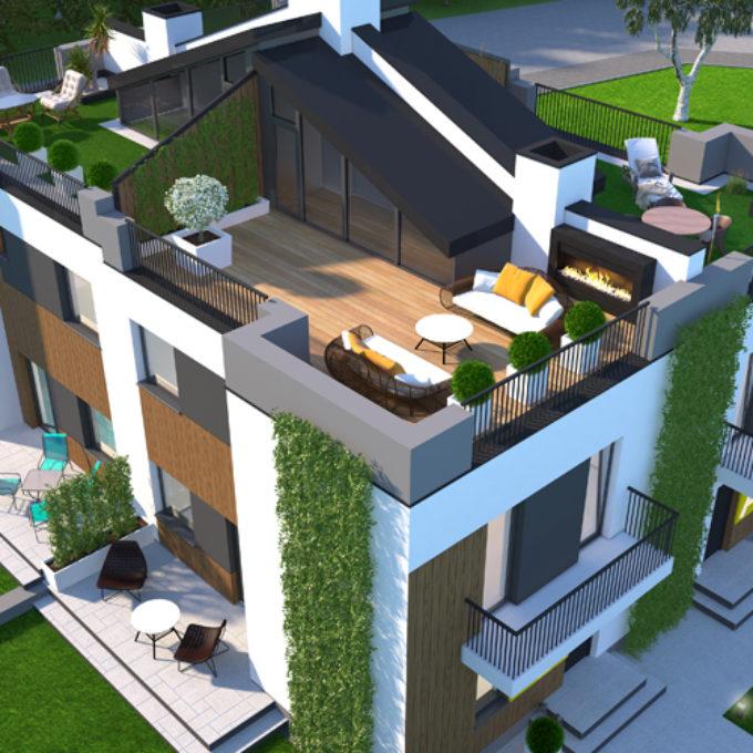 Wizualizacje 3D Poznań projekty graficzne poznań dom jednorodzinny ogród taras